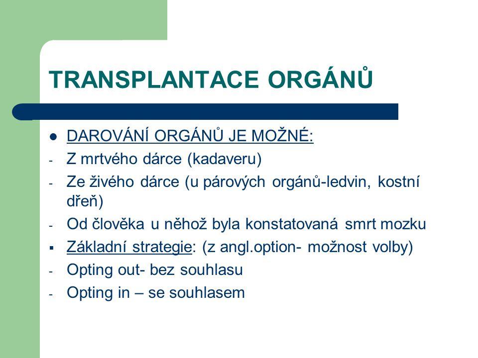 TRANSPLANTACE ORGÁNŮ DAROVÁNÍ ORGÁNŮ JE MOŽNÉ: - Z mrtvého dárce (kadaveru) - Ze živého dárce (u párových orgánů-ledvin, kostní dřeň) - Od člověka u něhož byla konstatovaná smrt mozku  Základní strategie: (z angl.option- možnost volby) - Opting out- bez souhlasu - Opting in – se souhlasem