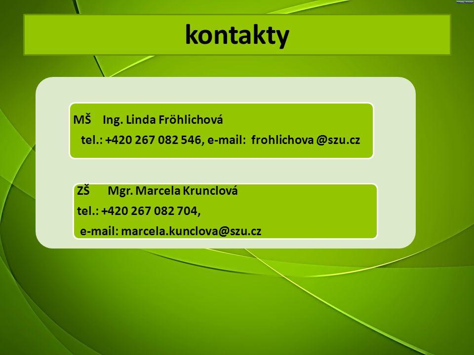 kontakty MŠ Ing. Linda Fröhlichová tel.: +420 267 082 546, e-mail: frohlichova @szu.cz ZŠ Mgr. Marcela Krunclová tel.: +420 267 082 704, e-mail: marce