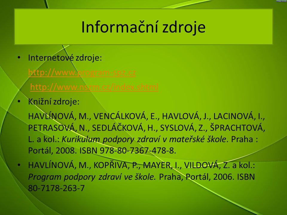 Informační zdroje Internetové zdroje: http://www.program-spz.cz http://www.nszm.cz/index.shtmlhttp://www.nszm.cz/index.shtml Knižní zdroje: HAVLÍNOVÁ,