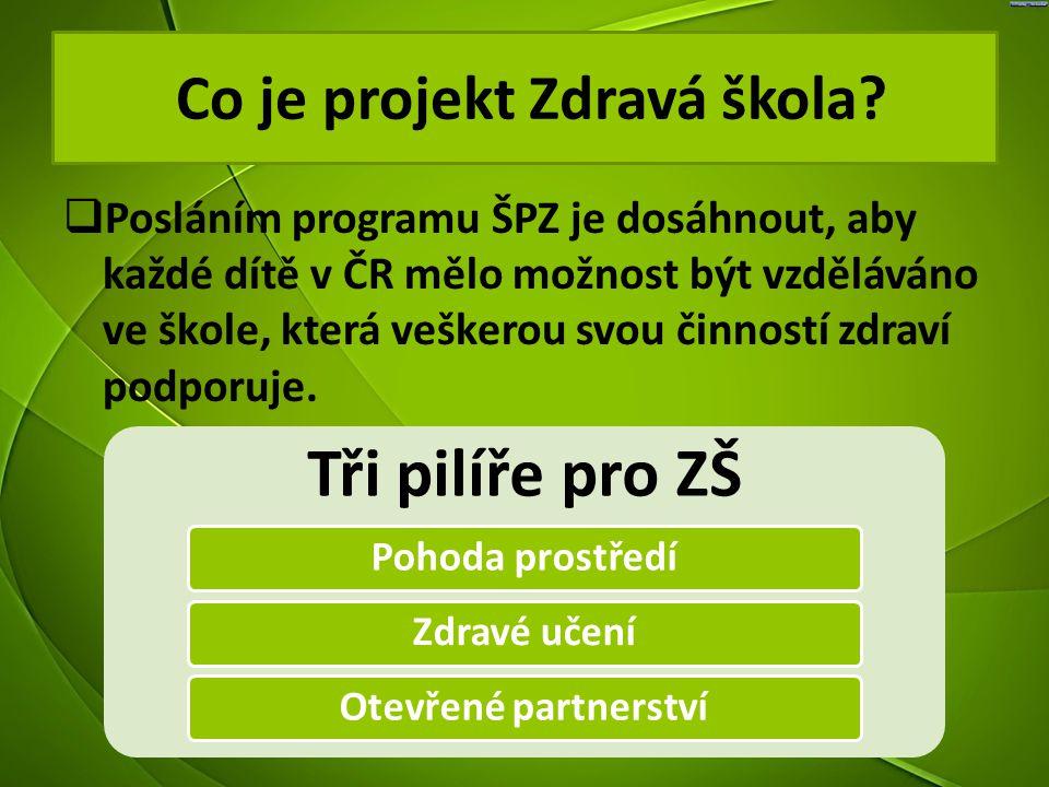  Posláním programu ŠPZ je dosáhnout, aby každé dítě v ČR mělo možnost být vzděláváno ve škole, která veškerou svou činností zdraví podporuje. Co je p