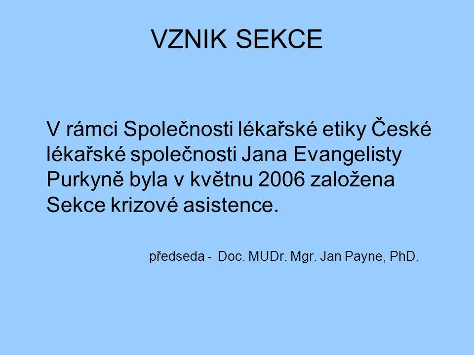 VZNIK SEKCE V rámci Společnosti lékařské etiky České lékařské společnosti Jana Evangelisty Purkyně byla v květnu 2006 založena Sekce krizové asistence.