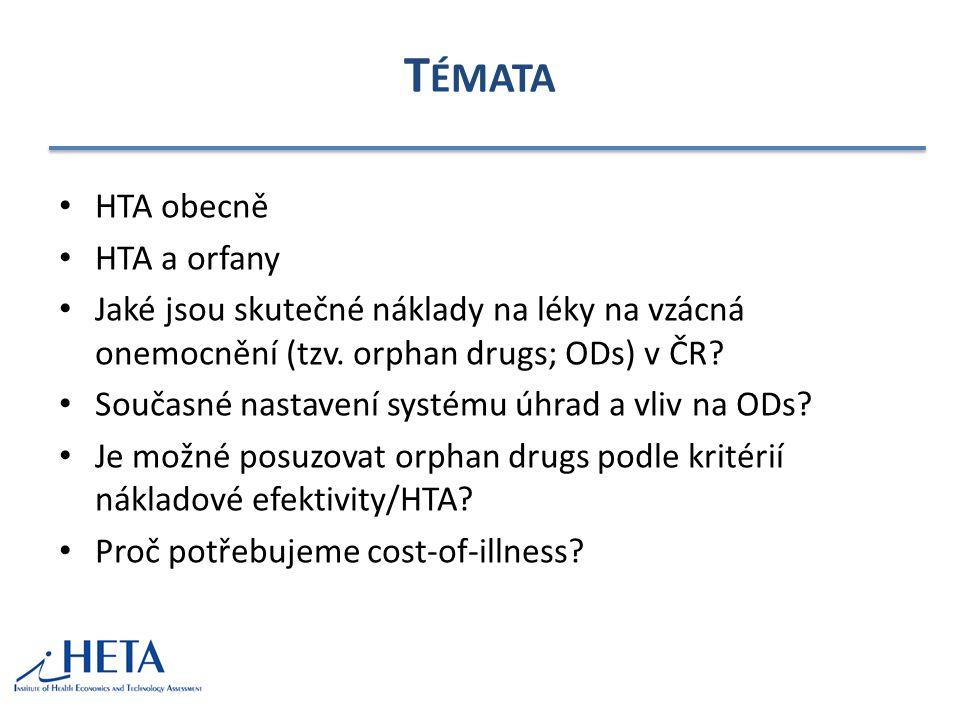 T ÉMATA HTA obecně HTA a orfany Jaké jsou skutečné náklady na léky na vzácná onemocnění (tzv.