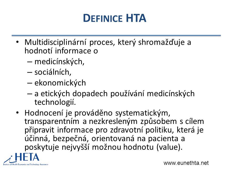 D EFINICE HTA Multidisciplinární proces, který shromažďuje a hodnotí informace o – medicínských, – sociálních, – ekonomických – a etických dopadech používání medicínských technologií.