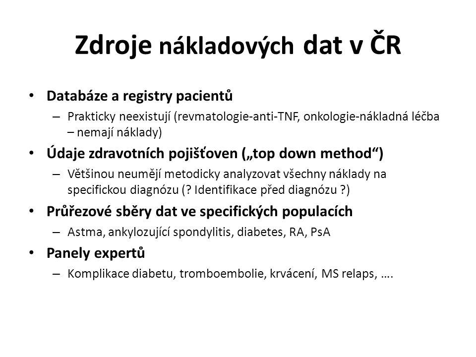 """Zdroje nákladových dat v ČR Databáze a registry pacientů – Prakticky neexistují (revmatologie-anti-TNF, onkologie-nákladná léčba – nemají náklady) Údaje zdravotních pojišťoven (""""top down method ) – Většinou neumějí metodicky analyzovat všechny náklady na specifickou diagnózu (."""
