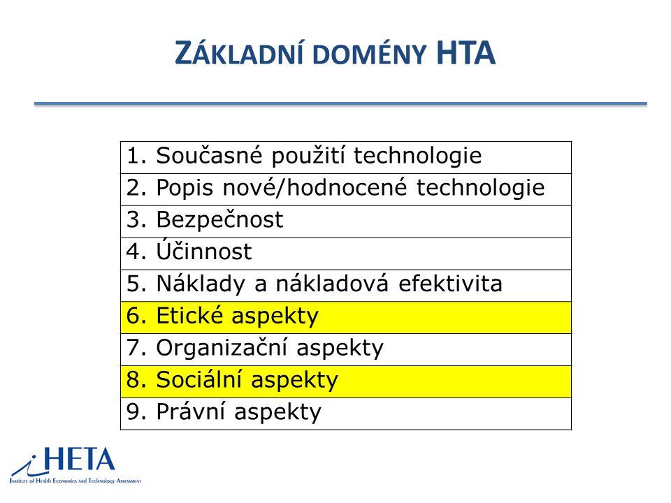 Z ÁKLADNÍ DOMÉNY HTA 1.Současné použití technologie 2.