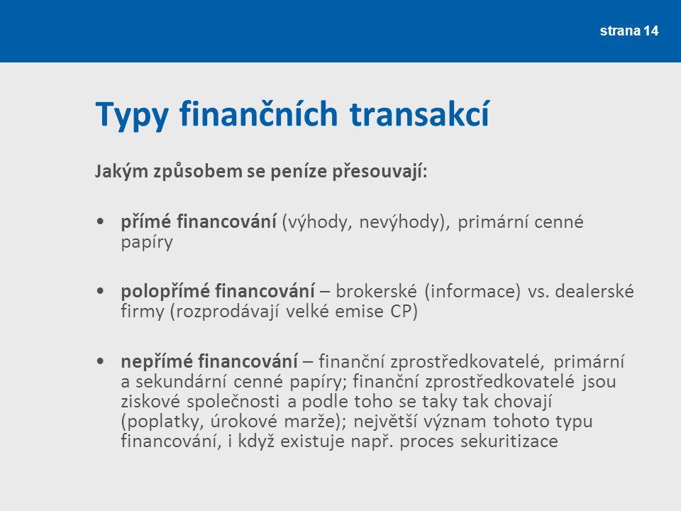 Typy finančních transakcí Jakým způsobem se peníze přesouvají: přímé financování (výhody, nevýhody), primární cenné papíry polopřímé financování – brokerské (informace) vs.