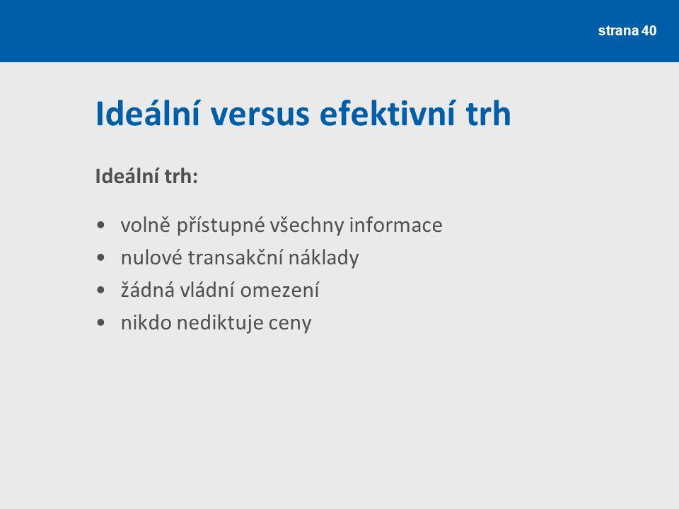 Ideální versus efektivní trh Ideální trh: volně přístupné všechny informace nulové transakční náklady žádná vládní omezení nikdo nediktuje ceny strana 40
