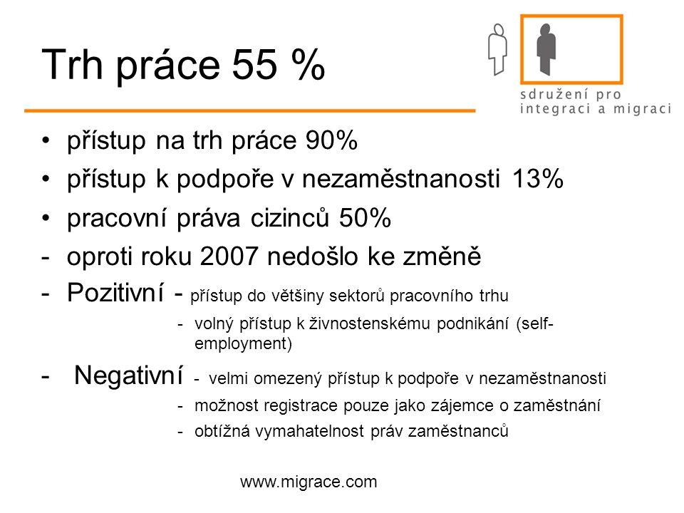 www.migrace.com Trh práce 55 % přístup na trh práce 90% přístup k podpoře v nezaměstnanosti 13% pracovní práva cizinců 50% -oproti roku 2007 nedošlo ke změně -Pozitivní - přístup do většiny sektorů pracovního trhu -volný přístup k živnostenskému podnikání (self- employment) - Negativní - velmi omezený přístup k podpoře v nezaměstnanosti -možnost registrace pouze jako zájemce o zaměstnání -obtížná vymahatelnost práv zaměstnanců