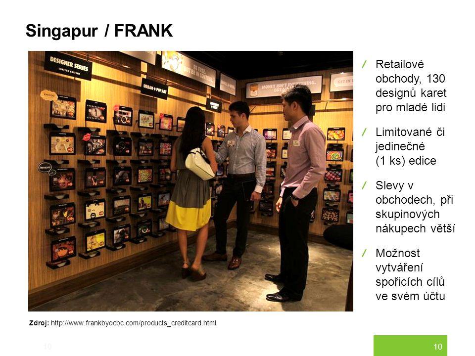 10 Singapur / FRANK 10 Retailové obchody, 130 designů karet pro mladé lidi Limitované či jedinečné (1 ks) edice Slevy v obchodech, při skupinových nák