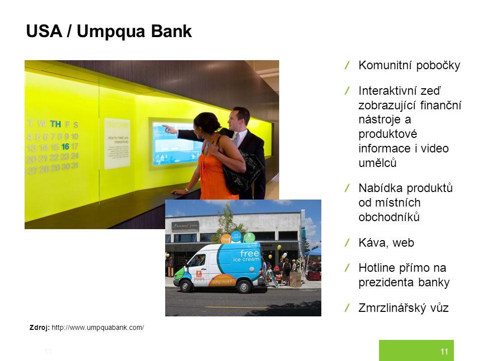 11 USA / Umpqua Bank 11 Komunitní pobočky Interaktivní zeď zobrazující finanční nástroje a produktové informace i video umělců Nabídka produktů od mís