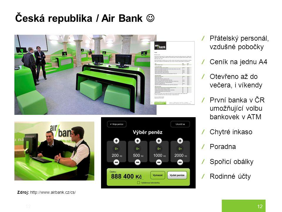 12 Česká republika / Air Bank 12 Přátelský personál, vzdušné pobočky Ceník na jednu A4 Otevřeno až do večera, i víkendy První banka v ČR umožňující vo