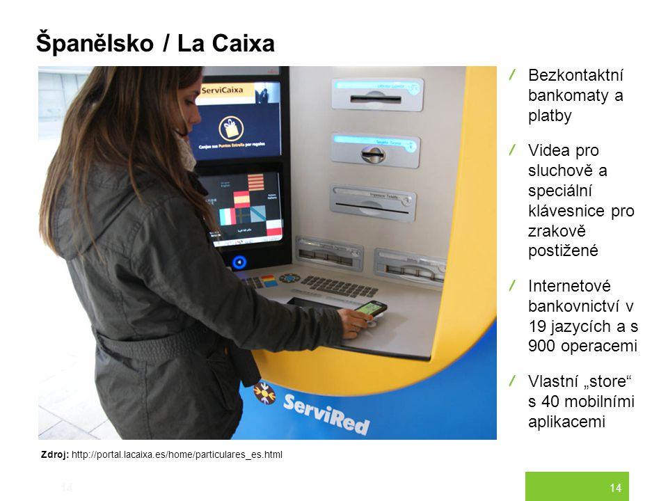14 Španělsko / La Caixa 14 Bezkontaktní bankomaty a platby Videa pro sluchově a speciální klávesnice pro zrakově postižené Internetové bankovnictví v
