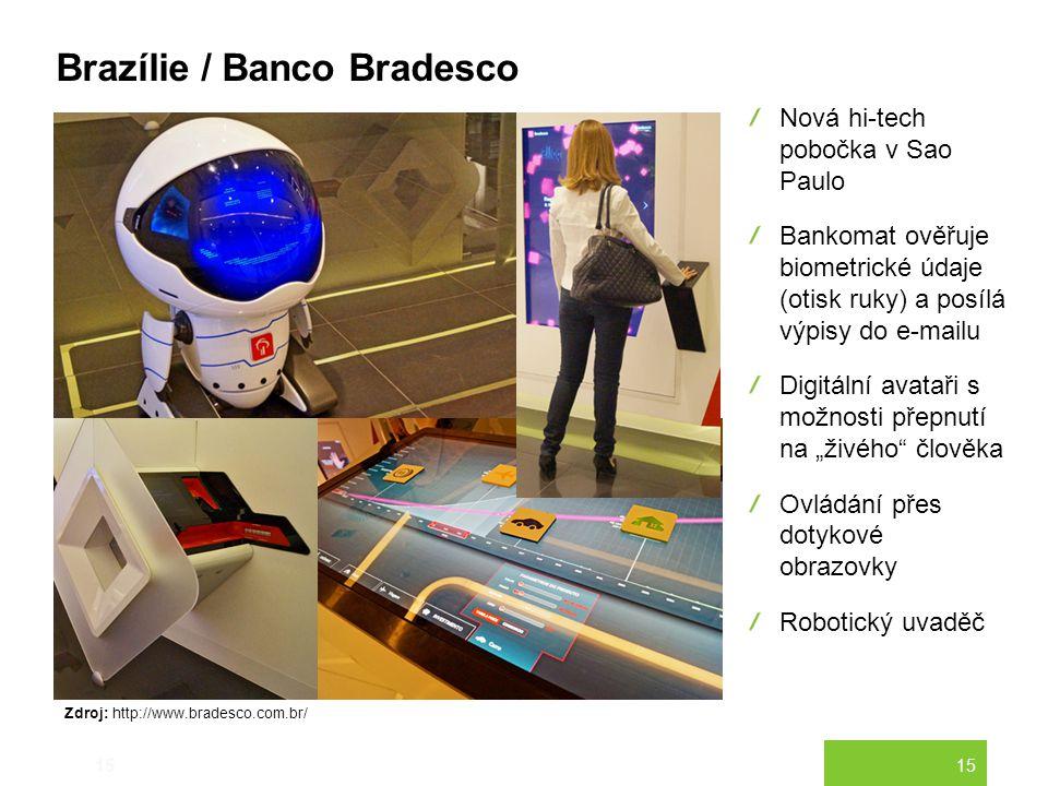 15 Brazílie / Banco Bradesco 15 Nová hi-tech pobočka v Sao Paulo Bankomat ověřuje biometrické údaje (otisk ruky) a posílá výpisy do e-mailu Digitální