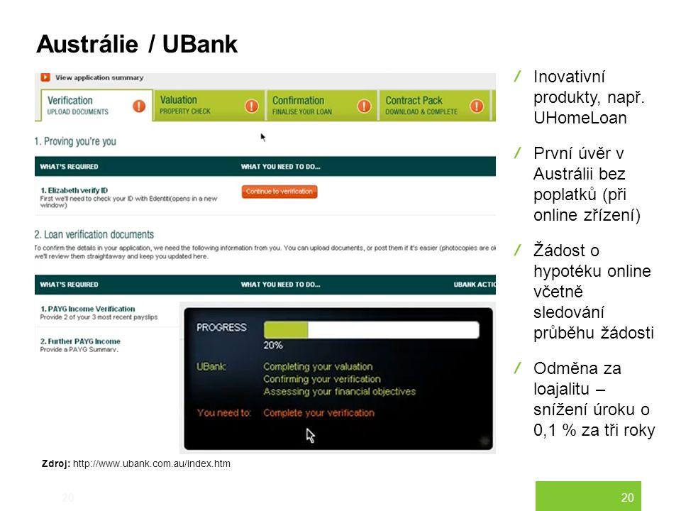 20 Austrálie / UBank 20 Inovativní produkty, např. UHomeLoan První úvěr v Austrálii bez poplatků (při online zřízení) Žádost o hypotéku online včetně