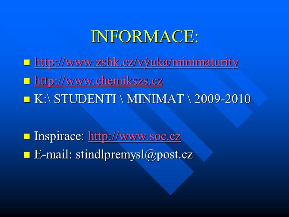 INFORMACE: http://www.zshk.cz/výuka/minimaturity http://www.zshk.cz/výuka/minimaturity http://www.zshk.cz/výuka/minimaturity http://www.chemikszs.cz h