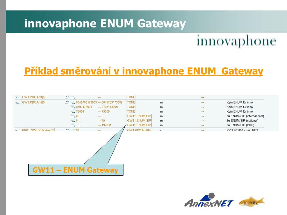 13 innovaphone ENUM Gateway Příklad směrování v innovaphone ENUM Gateway GW11 – ENUM Gateway