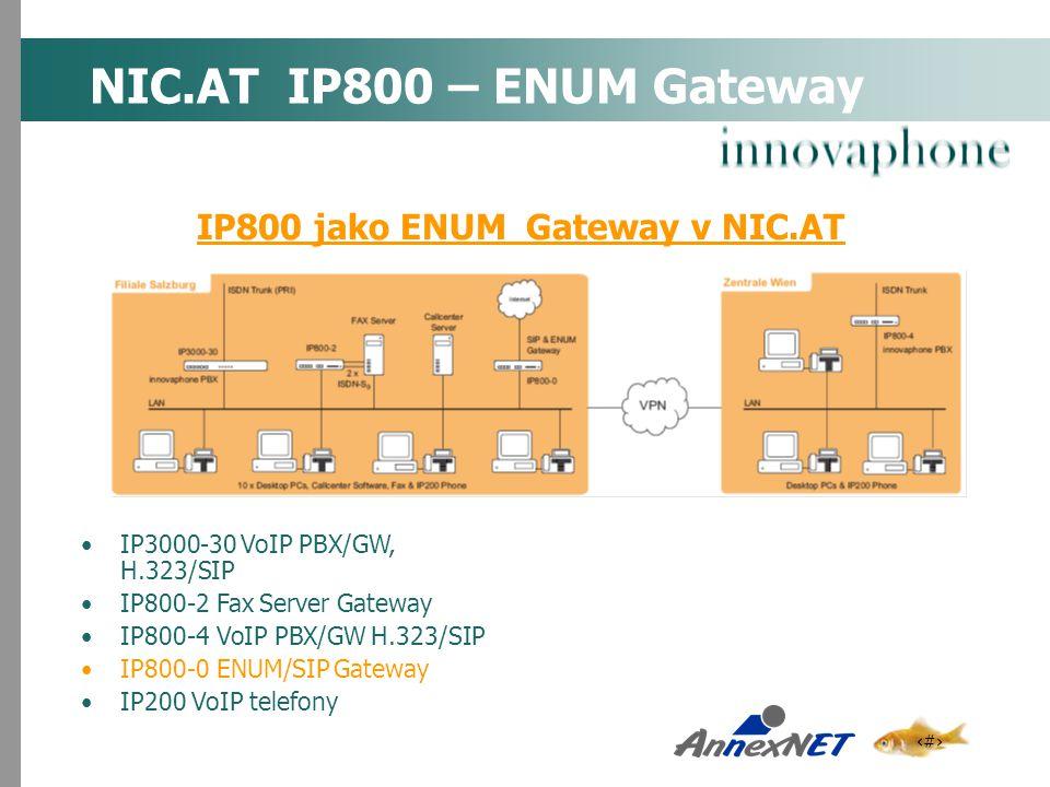 14 NIC.AT IP800 – ENUM Gateway IP3000-30 VoIP PBX/GW, H.323/SIP IP800-2 Fax Server Gateway IP800-4 VoIP PBX/GW H.323/SIP IP800-0 ENUM/SIP Gateway IP20