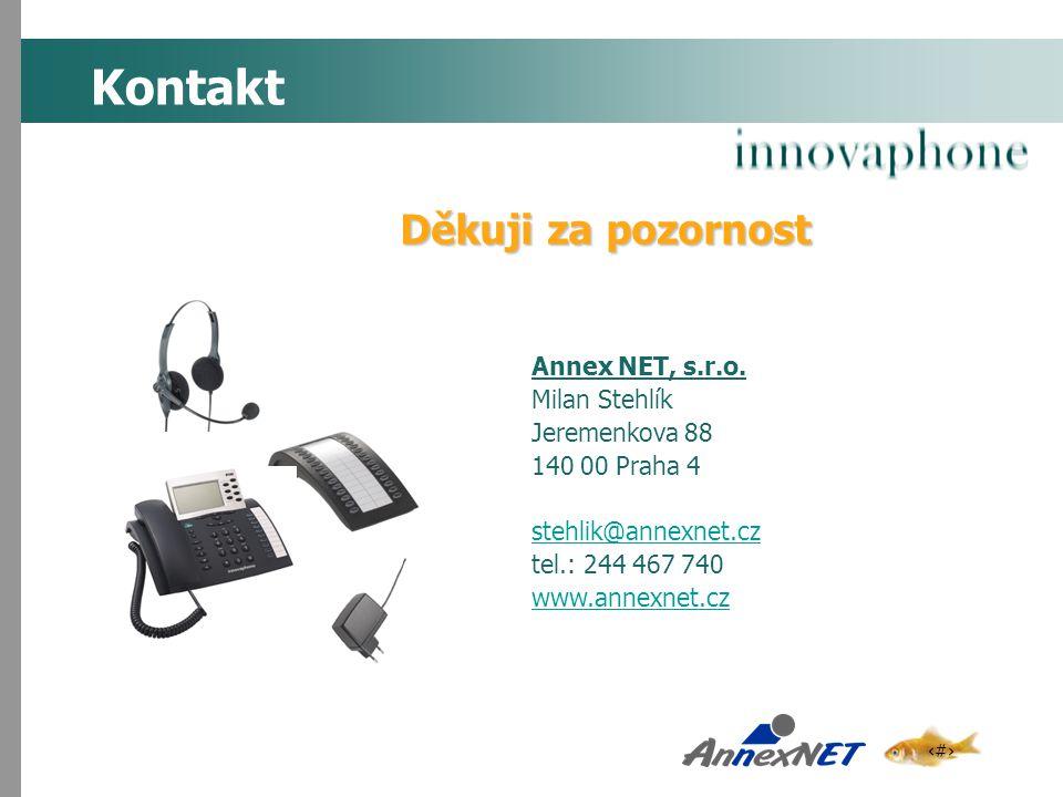 19 Kontakt Annex NET, s.r.o. Milan Stehlík Jeremenkova 88 140 00 Praha 4 stehlik@annexnet.cz tel.: 244 467 740 www.annexnet.cz Děkuji za pozornost