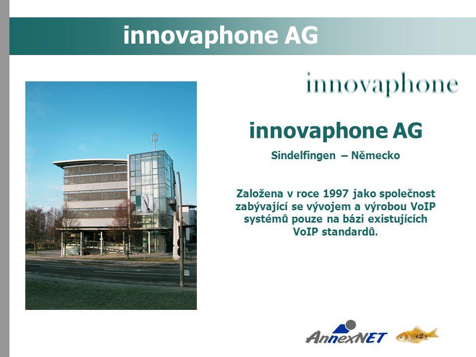 2 innovaphone AG Sindelfingen – Německo Založena v roce 1997 jako společnost zabývající se vývojem a výrobou VoIP systémů pouze na bázi existujících V