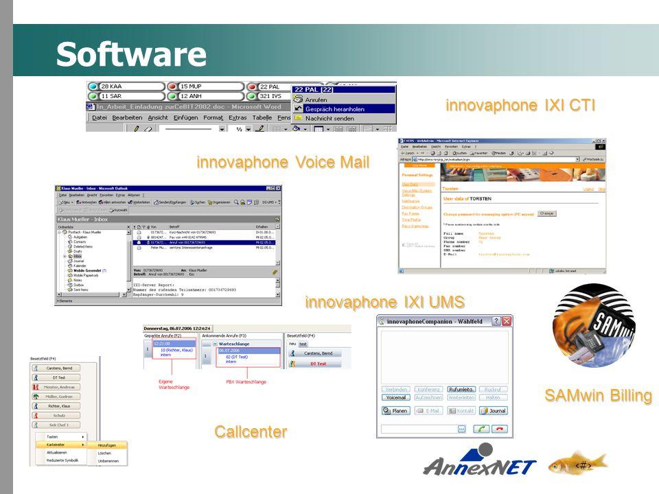 4 Software innovaphone IXI CTI innovaphone IXI UMS innovaphone Voice Mail SAMwin Billing Callcenter