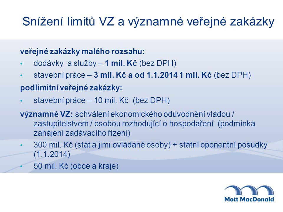 Snížení limitů VZ a významné veřejné zakázky veřejné zakázky malého rozsahu: dodávky a služby – 1 mil.
