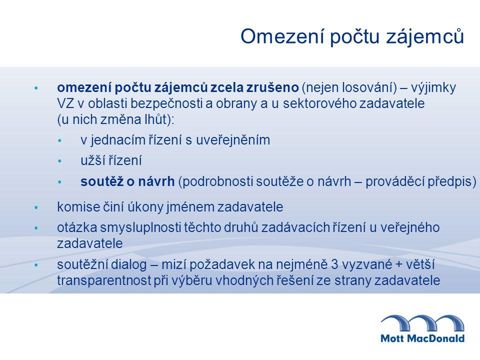 Hodnotící komise a hodnocení nabídek širší definice podjatosti – nesmí vzniknout osobní výhoda / újma u nadlimitní VZ osoba se zvláštní způsobilostí (vyjádření k zadávacím podmínkám a je členem hodnotící komise) + u stavebních zakázek OsZZ podle zvláštního předpisu (1.1.2014) možnost požádat o doplnění dokladů u uchazeče ve vztahu k § 68/3 u významných VZ veřejných zadavatelů (ne obcí): 9 členů: 2 členové + 2 náhradníci ze seznamu hodnotitelů MMR (možnost podnětu na ÚOHS) – los zadavatelem 1+1 jmenování vládou ČR zákaz zajišťovacích nástrojů (smluvní pokuta, délka garance atd.) a platebních podmínek jako dílčích hodnotících kritérií