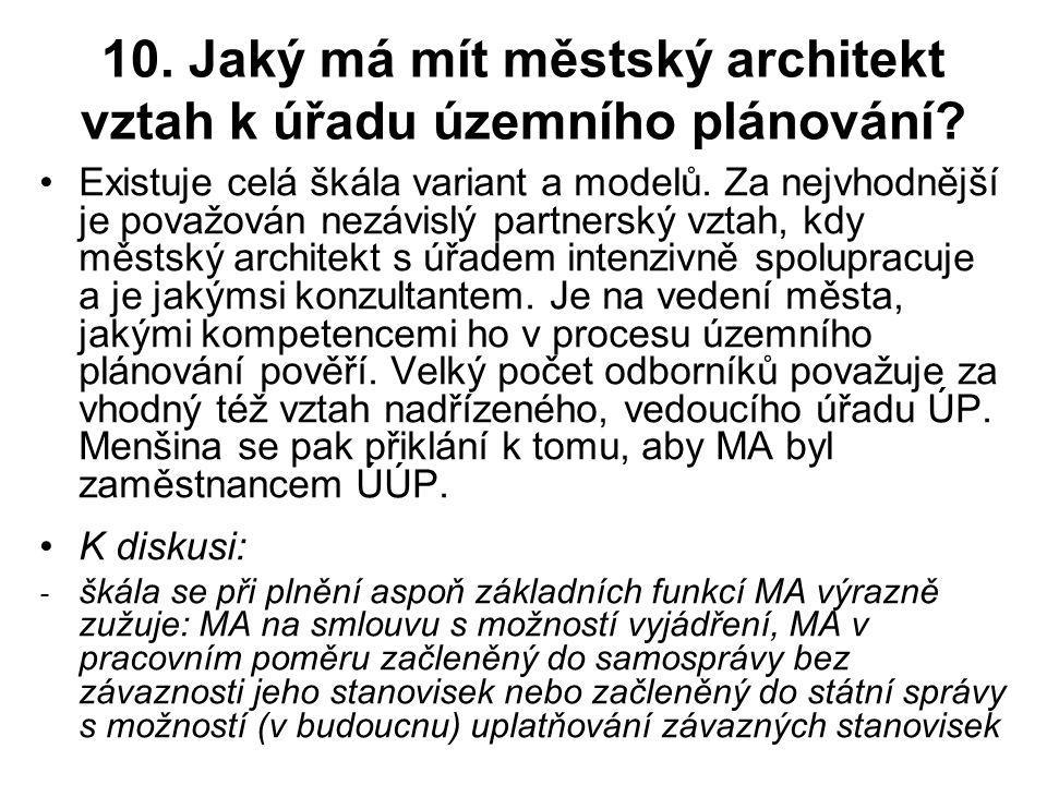 10.Jaký má mít městský architekt vztah k úřadu územního plánování.