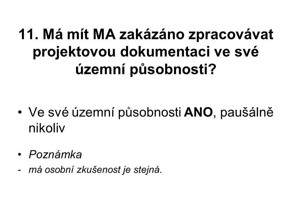11.Má mít MA zakázáno zpracovávat projektovou dokumentaci ve své územní působnosti.