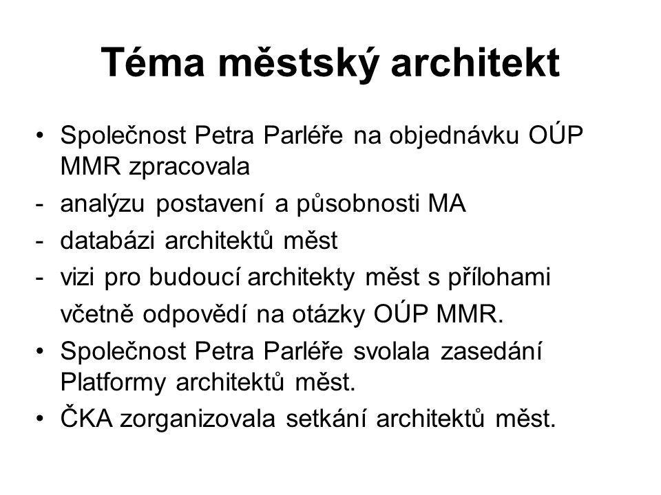 Téma městský architekt Společnost Petra Parléře na objednávku OÚP MMR zpracovala -analýzu postavení a působnosti MA -databázi architektů měst -vizi pro budoucí architekty měst s přílohami včetně odpovědí na otázky OÚP MMR.
