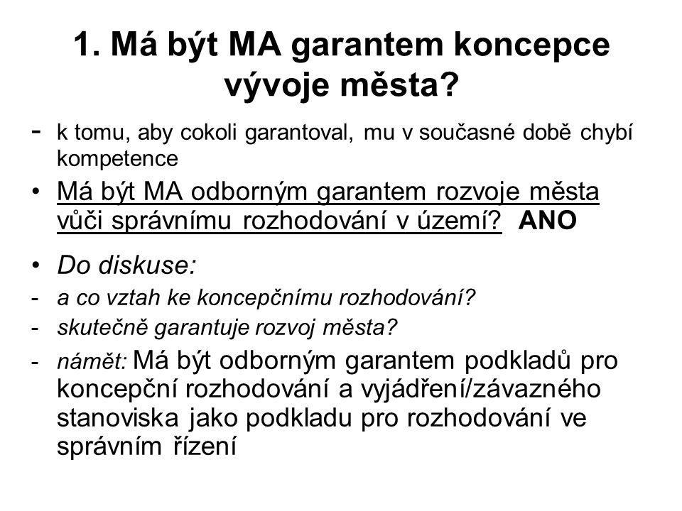 1.Má být MA garantem koncepce vývoje města.