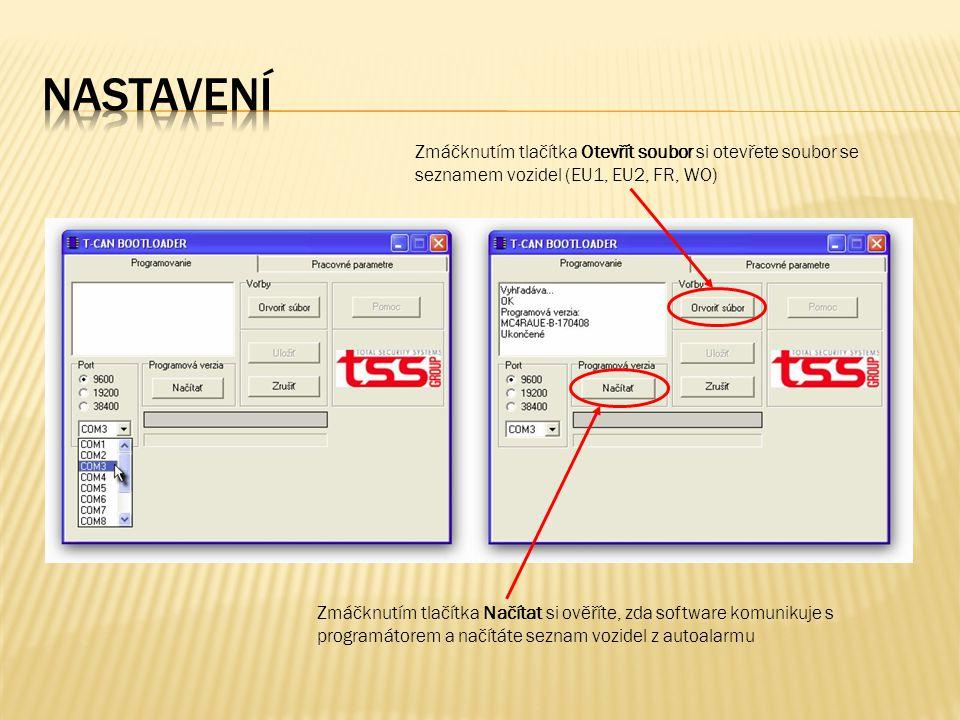 Zmáčknutím tlačítka Načítat si ověříte, zda software komunikuje s programátorem a načítáte seznam vozidel z autoalarmu Zmáčknutím tlačítka Otevřít soubor si otevřete soubor se seznamem vozidel (EU1, EU2, FR, WO)