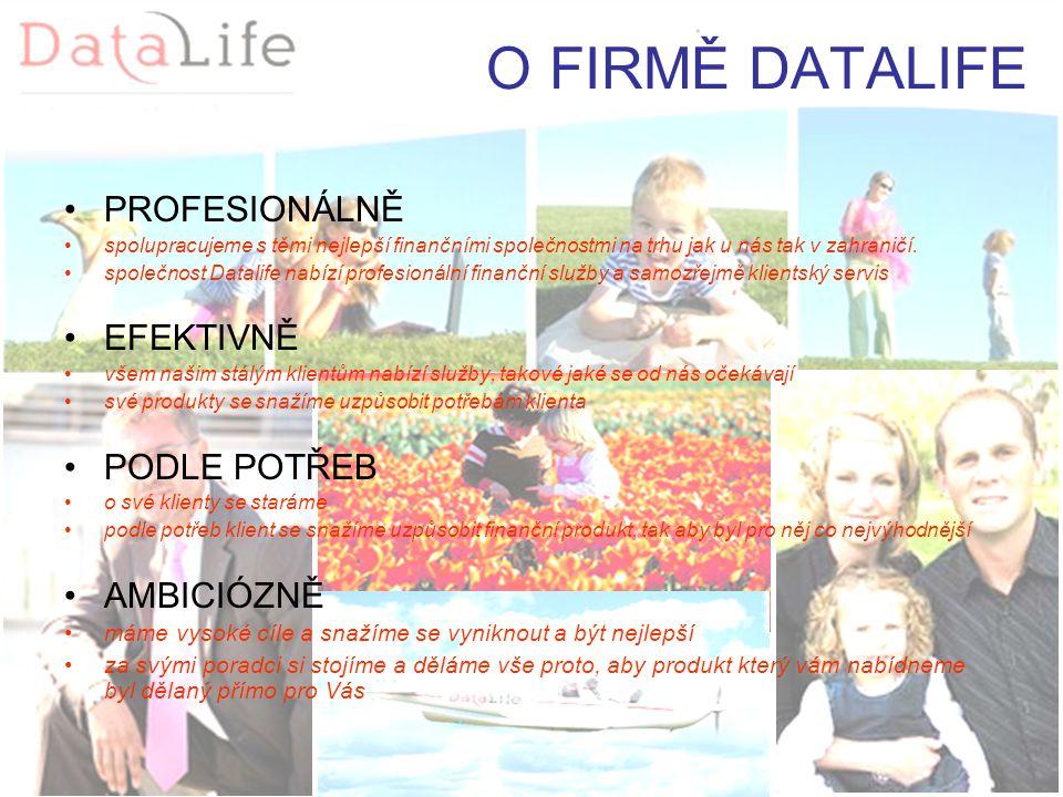 O FIRMĚ DATALIFE PROFESIONÁLNĚ spolupracujeme s těmi nejlepší finančními společnostmi na trhu jak u nás tak v zahraničí.
