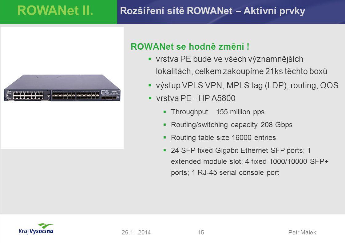 Petr Málek ROWANet se hodně změní !  vrstva PE bude ve všech významnějších lokalitách, celkem zakoupíme 21ks těchto boxů  výstup VPLS VPN, MPLS tag