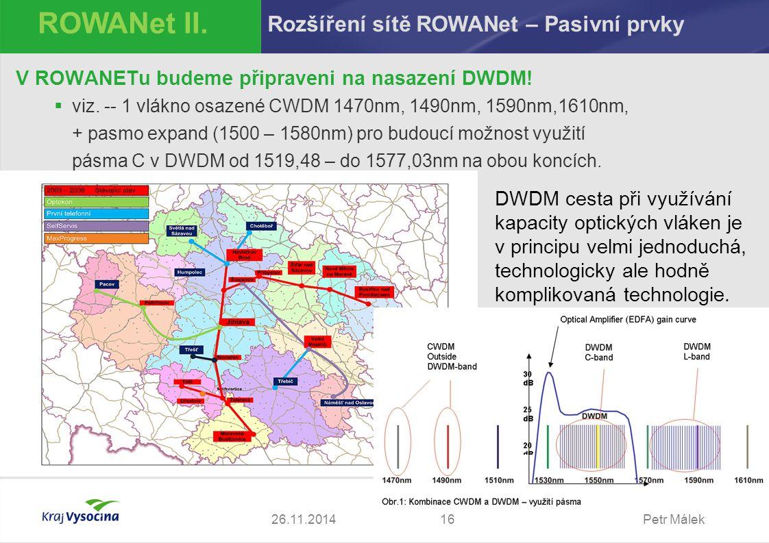 Petr Málek1626.11.2014 ROWANet II. Rozšíření sítě ROWANet – Pasivní prvky V ROWANETu budeme připraveni na nasazení DWDM!  viz. -- 1 vlákno osazené CW