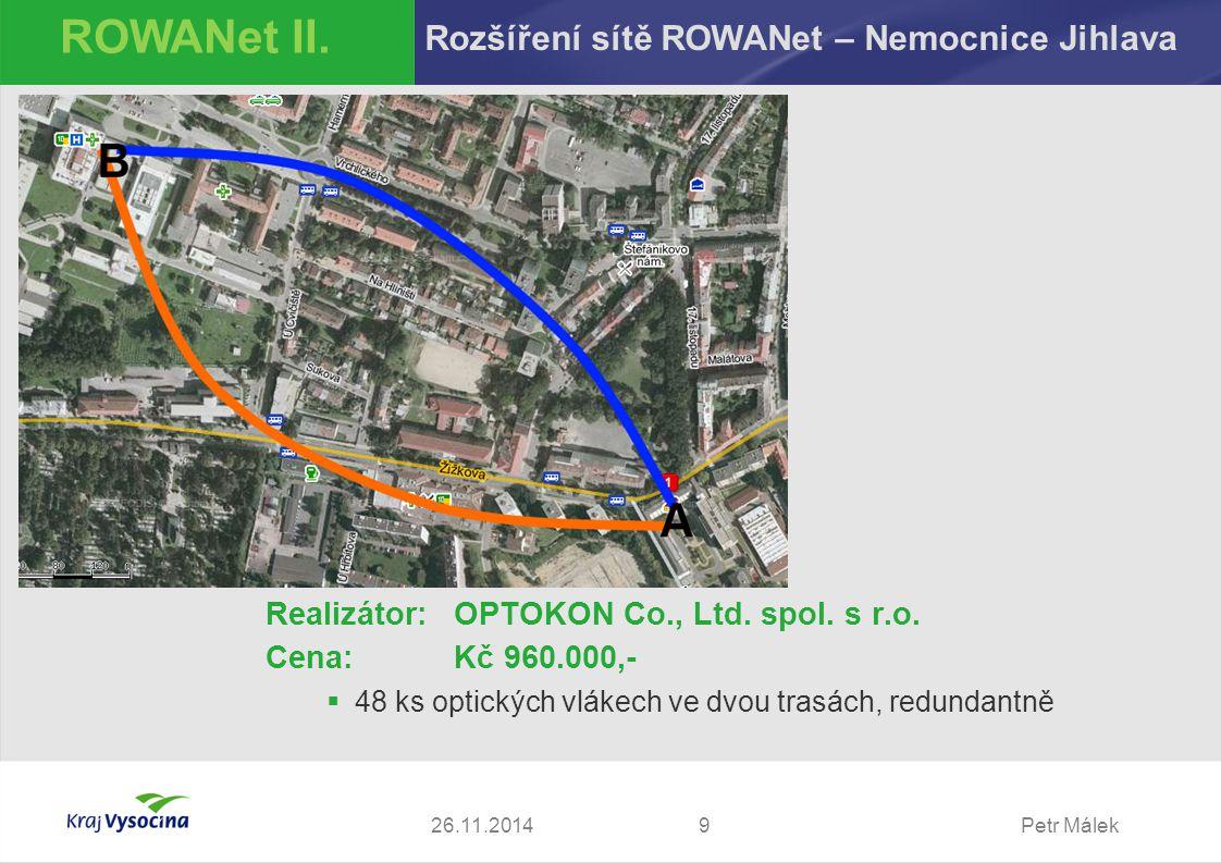Petr Málek Realizátor:OPTOKON Co., Ltd. spol. s r.o. Cena: Kč 960.000,-  48 ks optických vlákech ve dvou trasách, redundantně 926.11.2014 ROWANet II.