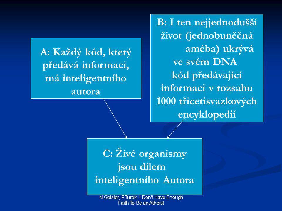 N.Geisler, F.Turek: I Don t Have Enough Faith To Be an Atheist A: Každý kód, který předává informaci, má inteligentního autora B: I ten nejjednodušší život (jednobuněčná améba) ukrývá ve svém DNA kód předávající informaci v rozsahu 1000 třicetisvazkových encyklopedií C: Živé organismy jsou dílem inteligentního Autora