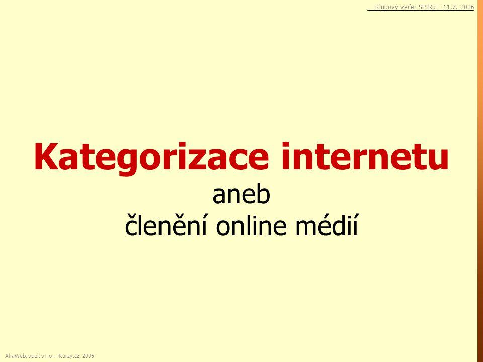 Kategorizace internetu aneb členění online médií AliaWeb, spol. s r.o. – Kurzy.cz, 2006 Klubový večer SPIRu - 11.7. 2006