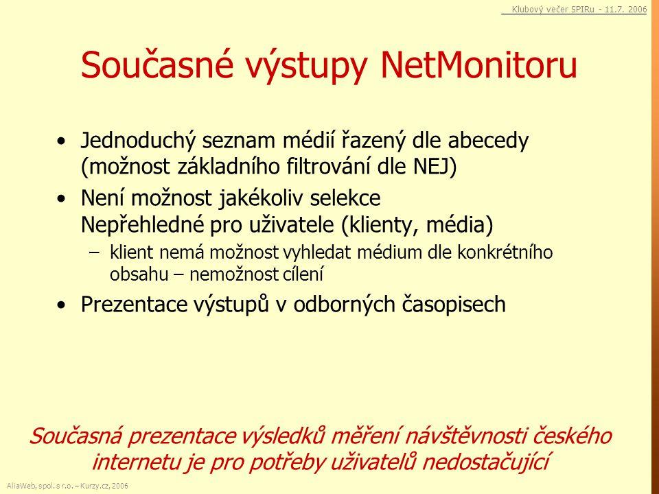 Současné výstupy NetMonitoru Jednoduchý seznam médií řazený dle abecedy (možnost základního filtrování dle NEJ) Není možnost jakékoliv selekce Nepřehl