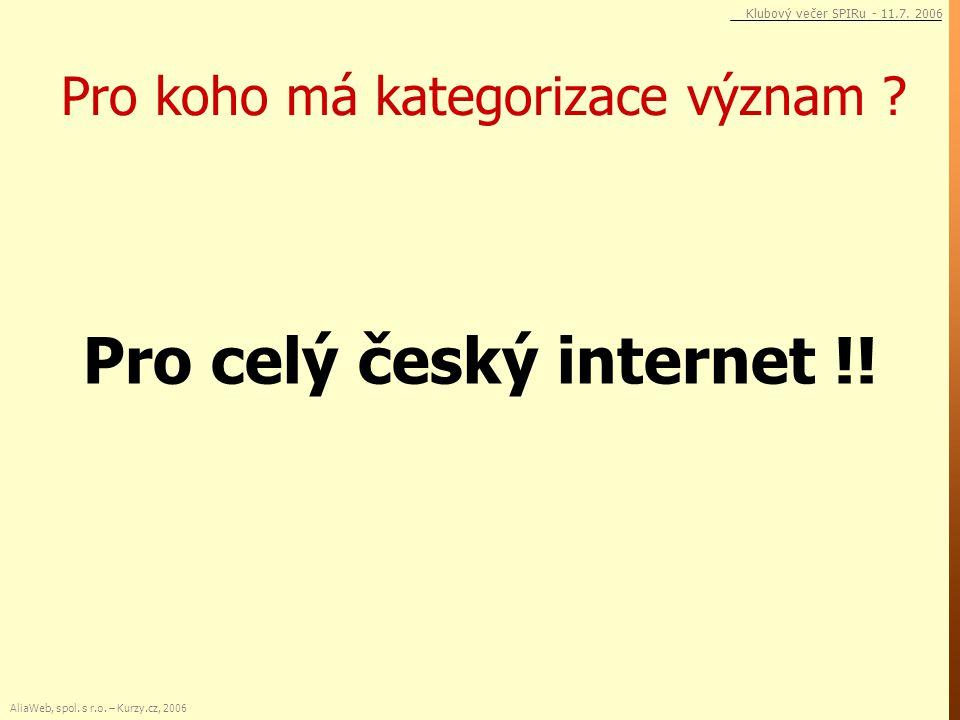 Pro koho má kategorizace význam ? Pro celý český internet !! AliaWeb, spol. s r.o. – Kurzy.cz, 2006 Klubový večer SPIRu - 11.7. 2006