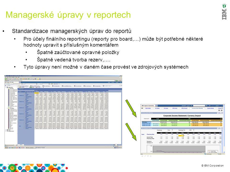 © IBM Corporation Managerské úpravy v reportech Standardizace managerských úprav do reportů Pro účely finálního reportingu (reporty pro board,…) může