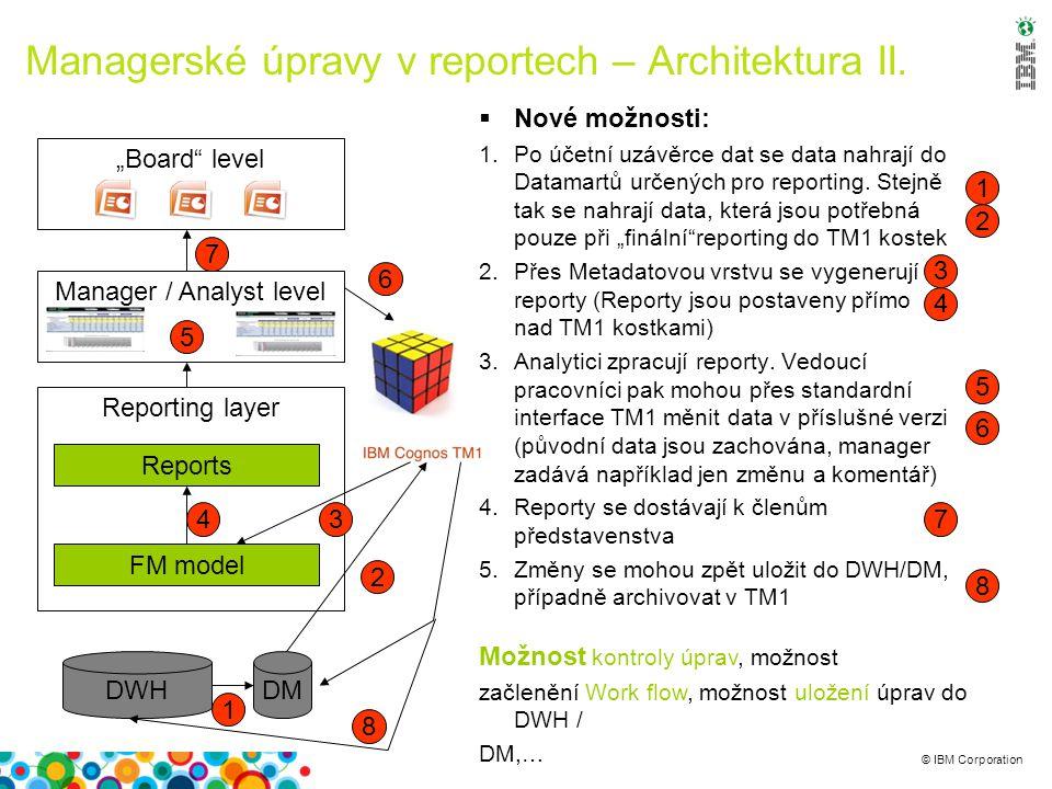 © IBM Corporation  Nové možnosti: 1.Po účetní uzávěrce dat se data nahrají do Datamartů určených pro reporting. Stejně tak se nahrají data, která jso