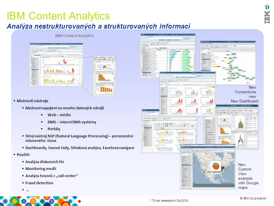© IBM Corporation IBM Content Analytics Analýza nestrukturovaných a strukturovaných informací IBM Content Analytics  Možnosti nástroje  Možnost napo