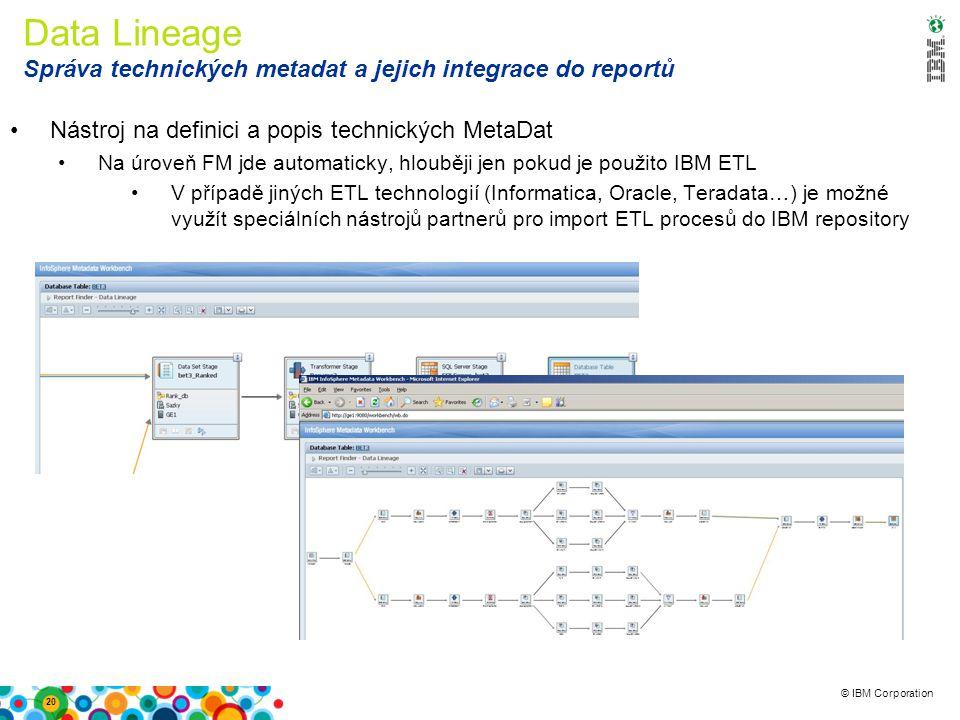 © IBM Corporation Data Lineage Správa technických metadat a jejich integrace do reportů Nástroj na definici a popis technických MetaDat Na úroveň FM jde automaticky, hlouběji jen pokud je použito IBM ETL V případě jiných ETL technologií (Informatica, Oracle, Teradata…) je možné využít speciálních nástrojů partnerů pro import ETL procesů do IBM repository 20