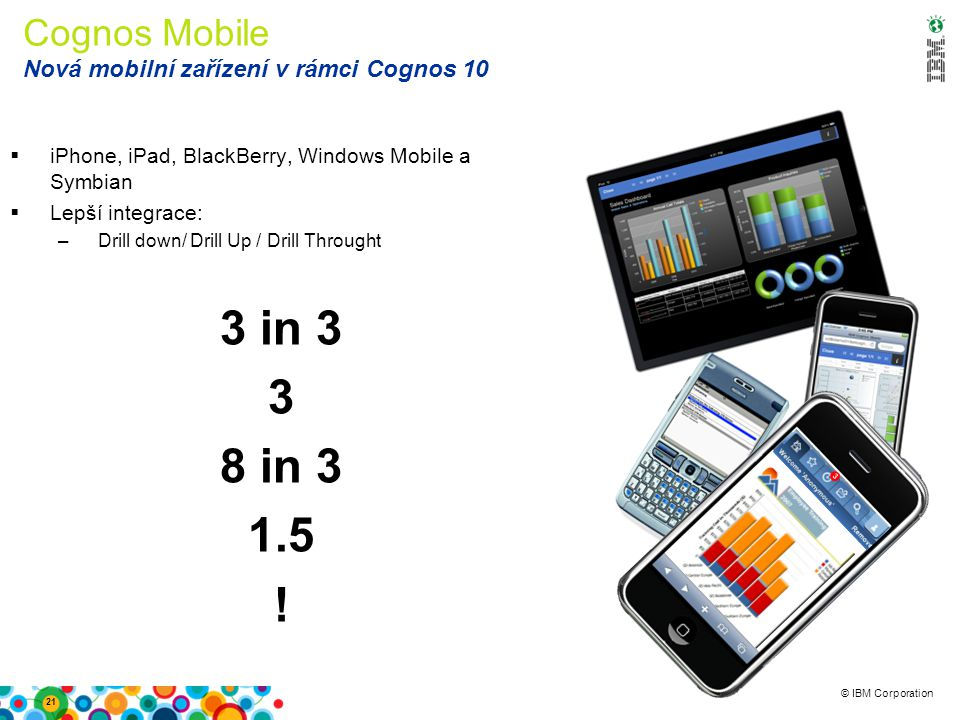 © IBM Corporation Cognos Mobile Nová mobilní zařízení v rámci Cognos 10  iPhone, iPad, BlackBerry, Windows Mobile a Symbian  Lepší integrace: –Drill down/ Drill Up / Drill Throught 3 in 3 3 8 in 3 1.5 .