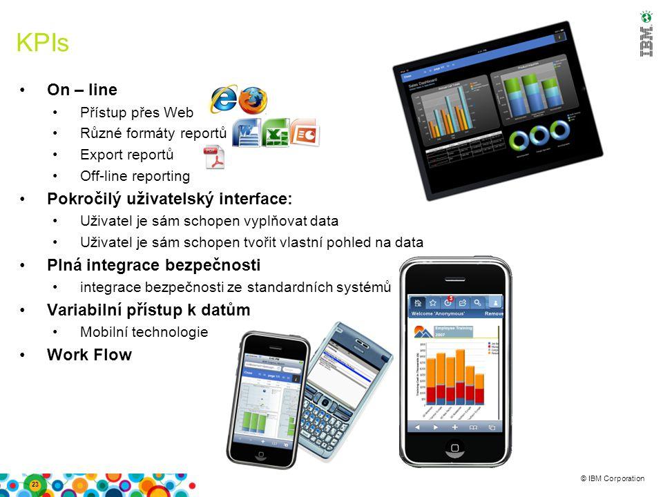© IBM Corporation KPIs On – line Přístup přes Web Různé formáty reportů Export reportů Off-line reporting Pokročilý uživatelský interface: Uživatel je