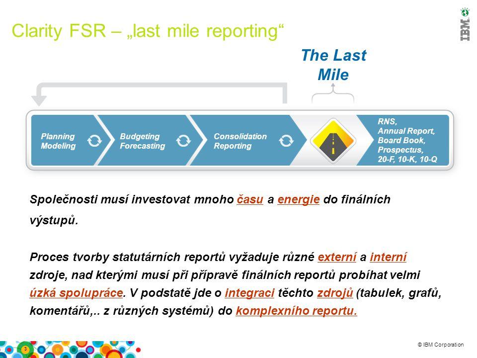 """© IBM Corporation Clarity FSR – """"last mile reporting 3 Společnosti musí investovat mnoho času a energie do finálních výstupů."""