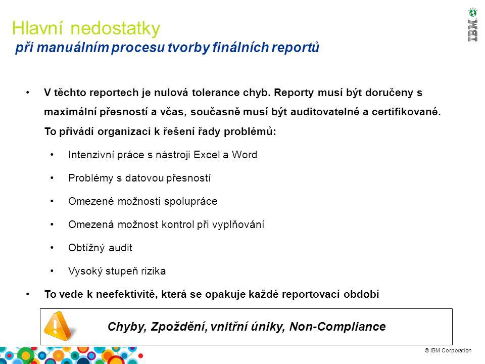 © IBM Corporation Chyby, Zpoždění, vnitřní úniky, Non-Compliance Hlavní nedostatky při manuálním procesu tvorby finálních reportů V těchto reportech je nulová tolerance chyb.