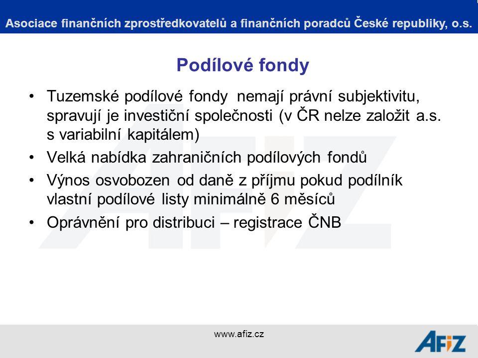www.afiz.cz Podílové fondy Tuzemské podílové fondy nemají právní subjektivitu, spravují je investiční společnosti (v ČR nelze založit a.s.