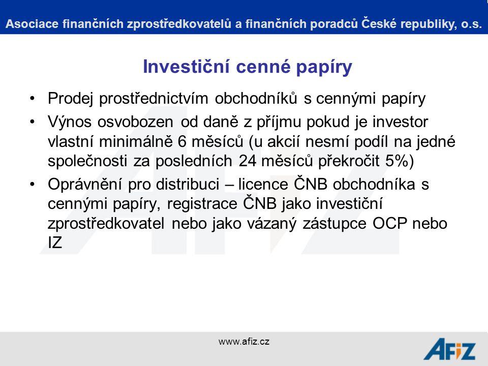 www.afiz.cz Investiční zprostředkovatel Specifická národní právní úprava, využívající výjimku z MiFID za účelem jednoduššího získání podnikatelského oprávnění a nižších nákladů na činnost, než je tomu u obchodníka s cennými papíry – platí pouze pro ČR.