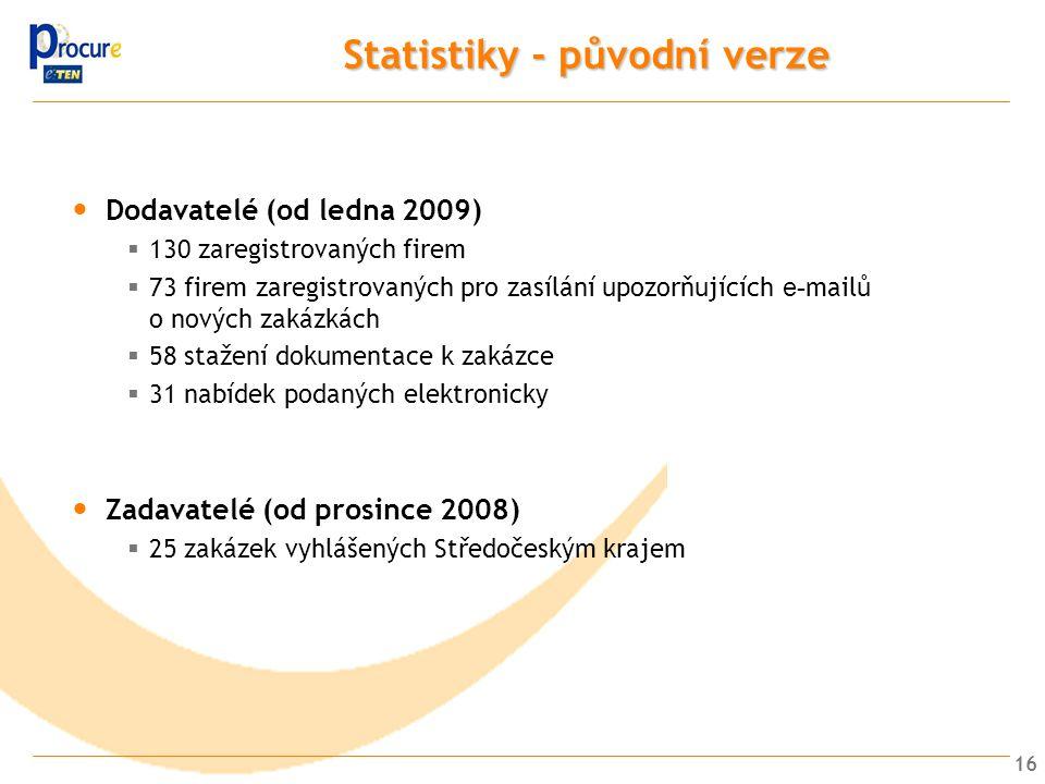 16 Statistiky - původní verze Dodavatelé (od ledna 2009)  130 zaregistrovaných firem  73 firem zaregistrovaných pro zasílání upozorňujících e- mailů